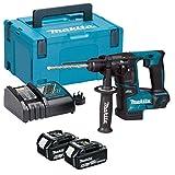 Makita Bohrhammer Brushless 2Funktionen mit 2Akkus 18V 5Ah dhr171rtj, W, 18 V, Schwarz/Blau, 3 kg