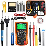 Vastar Lötkolben Set Eletronische Lötkolben Kit 60 W, einstellbare Temperatur mit Digitalmultimeter, Entlötpumpe, Lötstation, Pinzette, Abisolierzange Lötstation usw. (Orange)