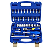 S&R Steckschlüsselsatz 46-teilig 1/4' Knarrenkasten Bit-Einsatz mit LOCK-Drive Profil, Werkzeugkasten Ratschenkasten Set mit 1/4 Zoll Ratsche und Nüsse