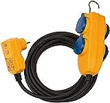 Brennenstuhl Schutzadapterkabel FI IP54 mit Powerblock (4-fach Verlängerung für außen IP54, 5m Kabel, mit Personenschutzschalter)