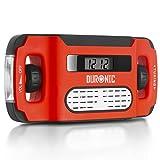 Duronic Apex Radio AM/FM, wiederaufladbar – Solarradio – Kurbelradio – Solarenergie, Handkurbel und USB-Ladegerät – mit Radiowecker und Taschenlampe